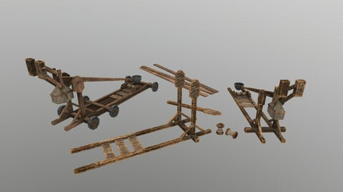 Low Poly Catapult 3D Model