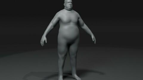 Fat Boy Kid Body Base Mesh 3D Model 20k Polygons