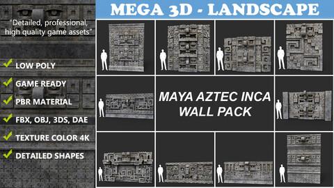 Low poly Mayan Inca Aztec Wall Modular Pack 210616
