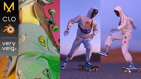 Skateboarder Outfit & Tutorial - Hoodie, Denim Jeans, Bumbag, Sneakers & Skateboard (Marvelous Designer & Clo3d Project files + .Obj)