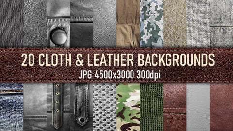 20 Cloth and leather material texture background reference photo set.