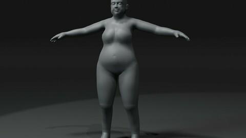 Fat Girl Kid Body Base Mesh 3D Model 20k Polygons