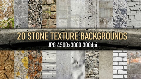 20 stone, tile, concrete material texture backgrounds, reference photo set.