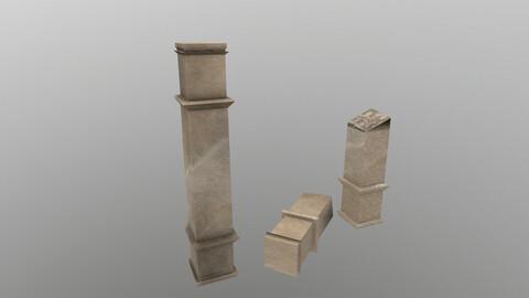 Low Poly Square Column 3D Model