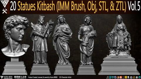 20 Statues Kitbash (IMM Brush, Obj, STL, & ZTL) Vol 05