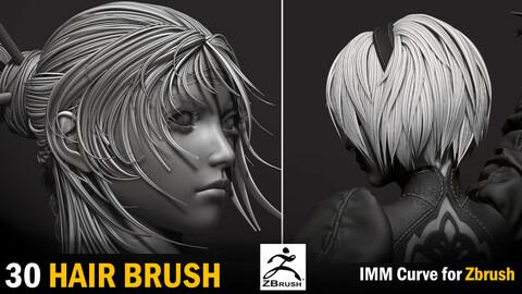 30 Imm Hair Brush for Zbrush