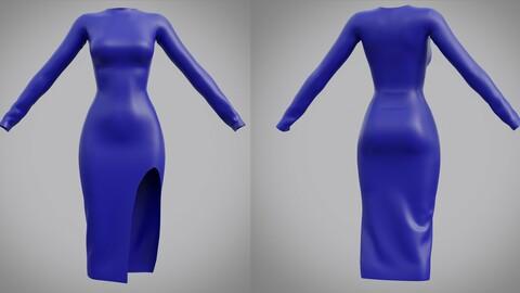Female Slit dress - 3D clothing