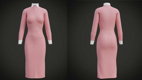 Female Collar Dress - 3D clothing
