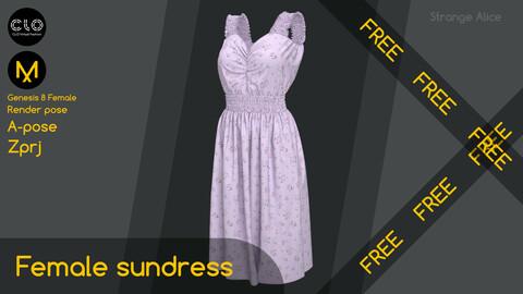 Free female sundress. Clo3d, Marvelous Designer project.