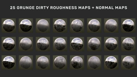 Pack - 25 Grunge Dirty Roughness Maps + Normal Maps