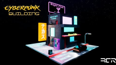 Cyberpunk Building - Low Poly Game Ready Low-poly 3D model