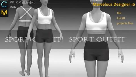Female/Girls Sport Outfit_Shorts With Bra_Clo3d, Marvelous Designer_Fbx & Obj needed