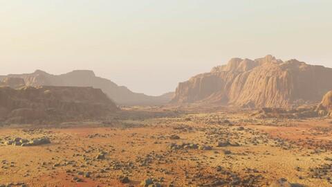 Martian surface - stony area in Blender