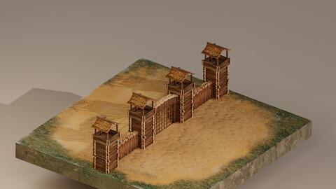Castle Wall Level 1 3D Model