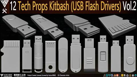 12 Tech Props Kitbash (USB Flash Drivers) Vol 2