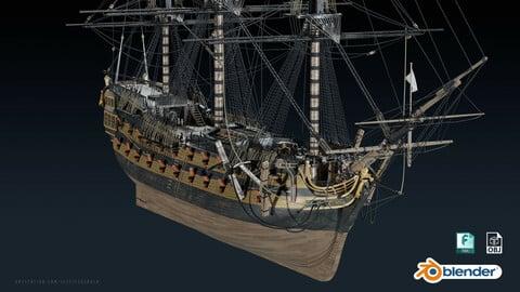 HMS Leopard - Galleon / Pirate Ship 3D Model