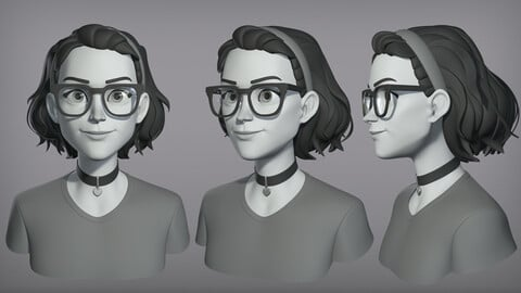 Cartoon female character Tianna base mesh