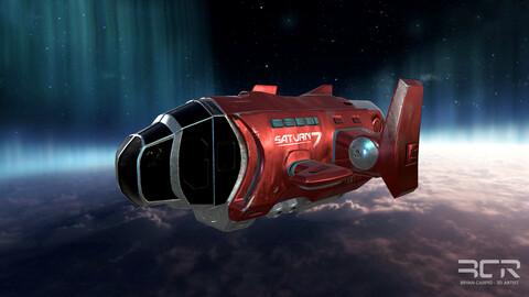 Spaceship Saturn7 - Original Design Low-poly 3D Game Ready
