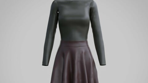 Female Leather skirt and top - 3D leather clothing