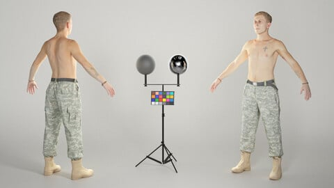 Shirtless soldier ready for animation 322