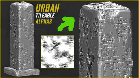 15 Urban Tileable Alphas for ZBrush