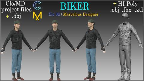 Biker / Marvelous Designer, Clo3d project + HI Poly All Cloth