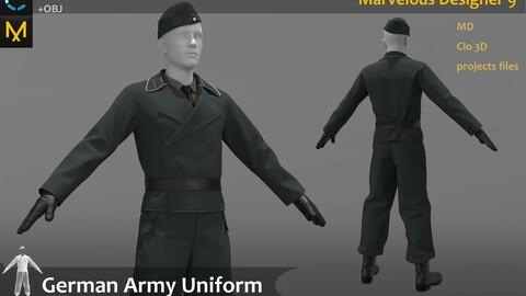 The German military uniform_ Officer attire_Clo3d, Marvelous Designer Project + FBX + OBJ