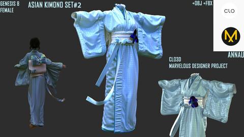 GENESIS 8 FEMALE: ASIAN KIMONO SET#2: CLO3D, MARVELOUS DESIGNER PROJECTS| +OBJ +FBX