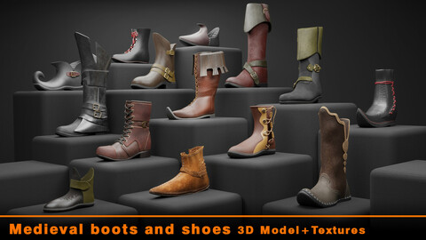 Medieval boots and shoes 3d model + Textures