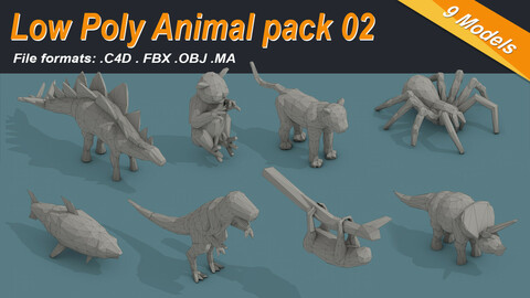 Low Poly Animal Isometric Icon Pack 02