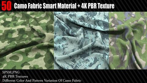50 Camo Fabric Smart Material + 4K PBR Texture