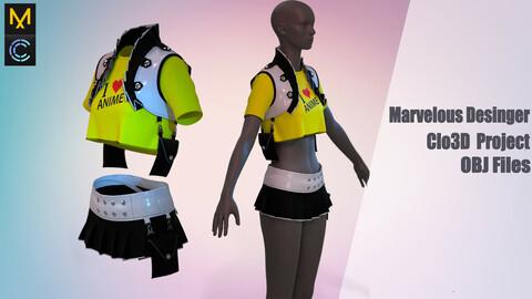 Kawaii clothes (MD/Clo3D Project+OBJ,FBX files)