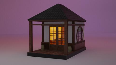 Japanese TeaHouse Clipart Build Low-poly 3D model