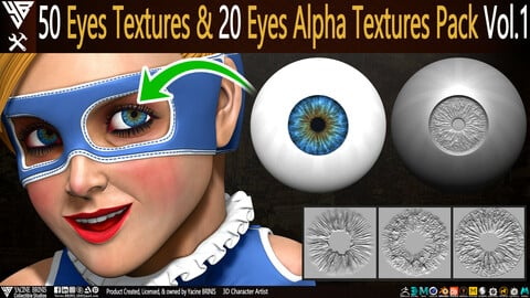 50 Eyes Textures & 20 Eyes Alpha Textures Pack Vol 01