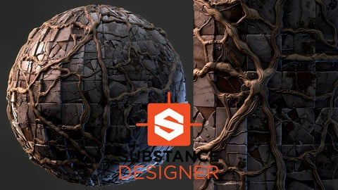 Stylized Old Tiles with Roots - Substance Designer