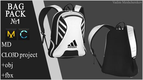 Bag Pack №1. Marvelous Designer / Clo 3D project +obj
