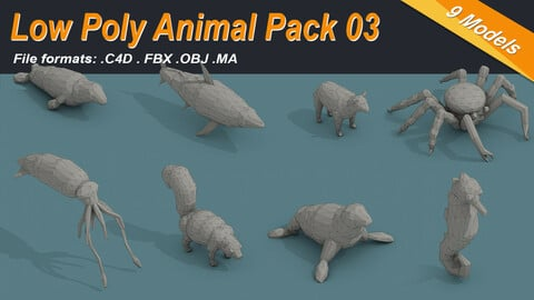 Low Poly Animal Isometric Icon Pack 03