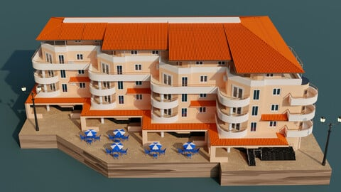 3d model for Albania hotel, 5 floors building next to the embankment.