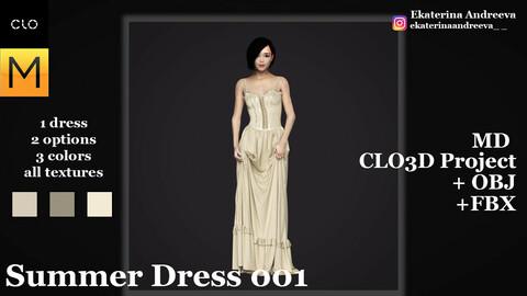 CLO/Marvelous designer. Summer dress 001 + textures.