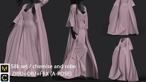 Digital silk set / chemise and robe /marvelous designer
