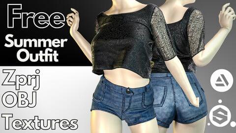 Marvelous Designer + Clo3d + OBJ + FBX + Texture : Summer outfit