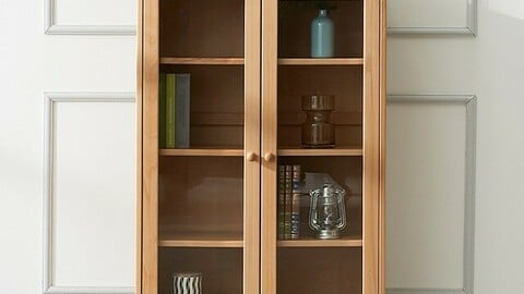 Beaches solid wood glass cabinet
