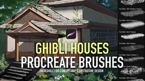 Procreate Ghibli houses brush set