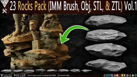 23 Rocks Pack (IMM Brush, Obj, STL, & ZTL) Vol 01
