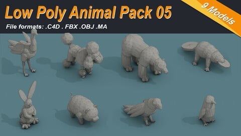 Low Poly Animal Isometric Icon Pack 05