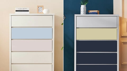 Vivian wide 5-tier chest of drawers