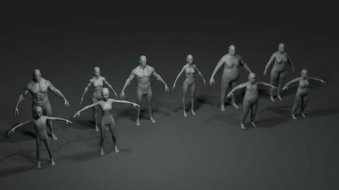 Human Body Base Mesh 10 3D Models Pack 20k Polygons