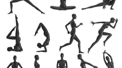 Set of female Mannequins 12 athletic pozes