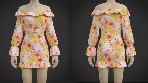 3D Off Shoulder Ruffle Blouse MiniSkirt Dress- 2 Piece Summer Outfit