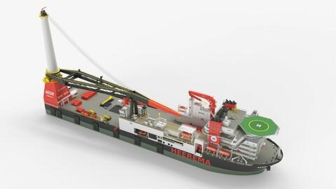 Heerema Aegir Ship Crane Vessel 3d Model 3D model